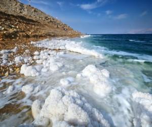 Dead Sea, Israel salt formations.